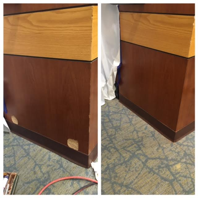 Conference table touch up and repair before and after